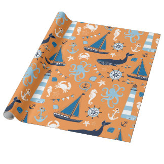 Papier Cadeau Orange nautique d'océan