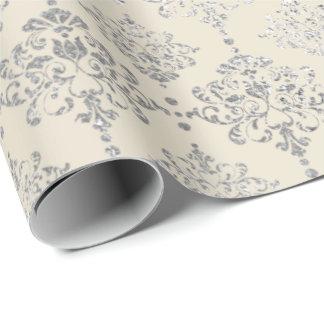 Papier Cadeau Ornement gris en ivoire argenté de GreyRoyal de