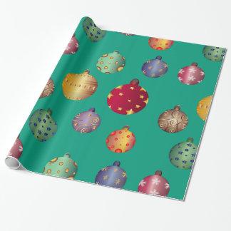 Papier Cadeau Ornements colorés de Noël