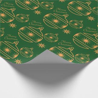 Papier Cadeau Ornements de Joyeux Noël sur le vert