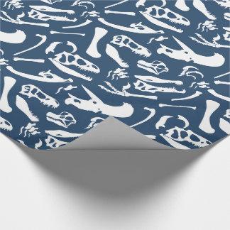 Papier Cadeau Os de dinosaure (bleus)