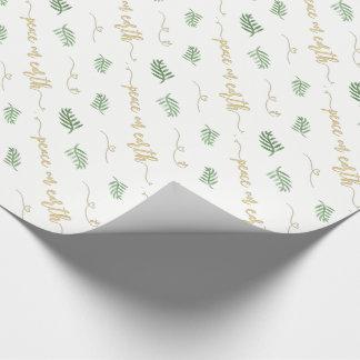 Papier Cadeau Paix sur le vert de la terre et le motif
