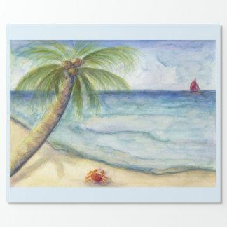 Papier Cadeau Palmier costal orange de scène de bateau à voile