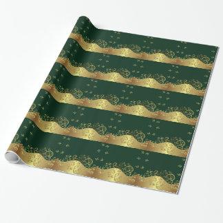 Papier Cadeau Papier cadeau--Remous d'or et vert-foncé