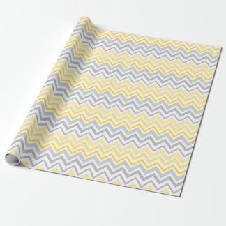 Papier Cadeau Papier d'emballage assez jaune et gris de Chevron
