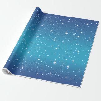Papier Cadeau Papier d'emballage bleu de nuit étoilée