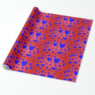 Papier Cadeau Papier d'emballage bleu de Valentine de jour de