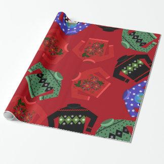 Papier Cadeau Papier d'emballage brillant de chandails laids de