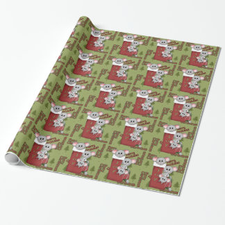 Papier Cadeau Papier d'emballage brillant de souris de Noël
