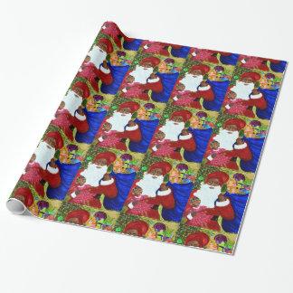 Papier Cadeau Papier d'emballage brillant noir de Père Noël -