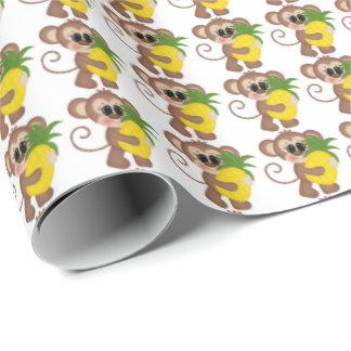 Papier Cadeau Papier d'emballage carrelé par singe d'ananas