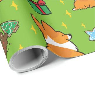 Papier Cadeau Papier d'emballage | CorgiThings de corgi de Noël
