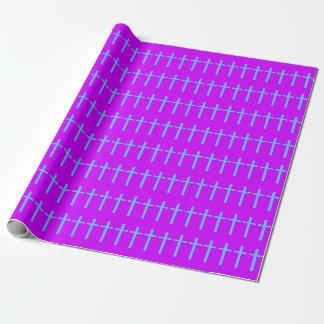 Papier Cadeau Papier d'emballage croisé pourpre et bleu