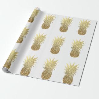 Papier Cadeau Papier d'emballage d'ananas d'or