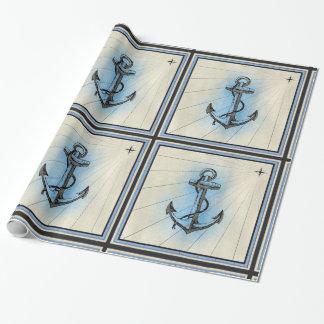 Papier Cadeau papier d'emballage d'ancre nautique de bateau