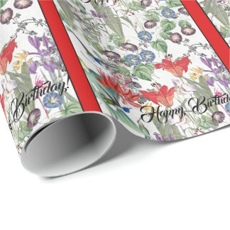 Papier Cadeau Papier d'emballage d'anniversaire de fleurs