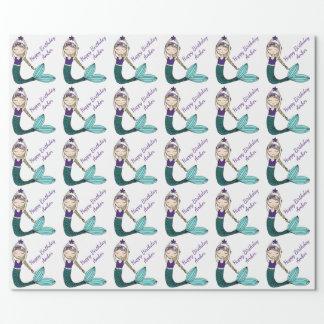 Papier Cadeau Papier d'emballage d'anniversaire de sirène, fille