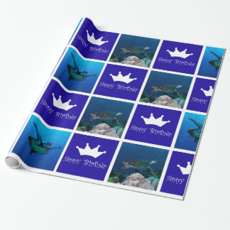 Papier Cadeau Papier d'emballage d'anniversaire de tortue de mer