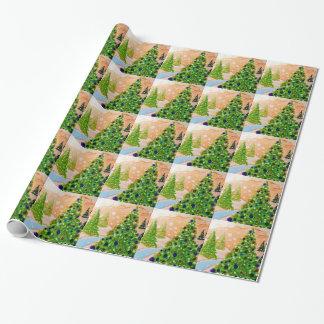 Papier Cadeau Papier d'emballage d'arbre de Noël