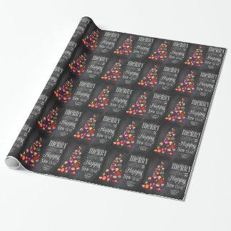Papier Cadeau Papier d'emballage d'arbre de Noël vintage de