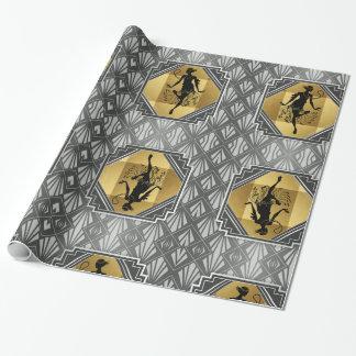 Papier Cadeau Papier d'emballage d'art déco d'aileron de Gatsby