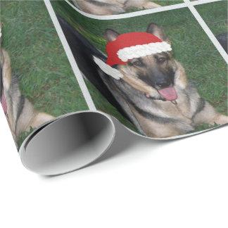 Papier Cadeau Papier d'emballage de berger allemand de Noël