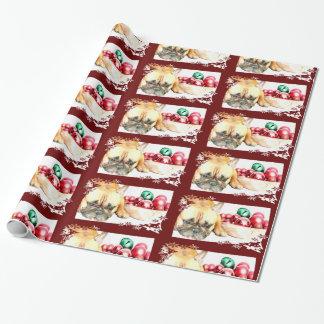 Papier Cadeau Papier d'emballage de bouledogue français de Noël