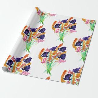 Papier Cadeau Papier d'emballage de bouquet d'iris