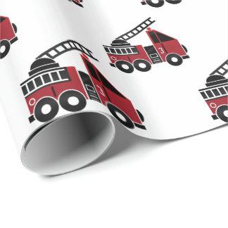 Papier Cadeau Papier d'emballage de camions de pompiers