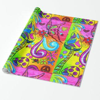 Papier Cadeau papier d'emballage de champignon magique hippie