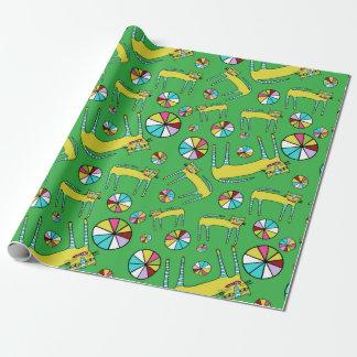 Papier Cadeau Papier d'emballage de chats de roue de couleur