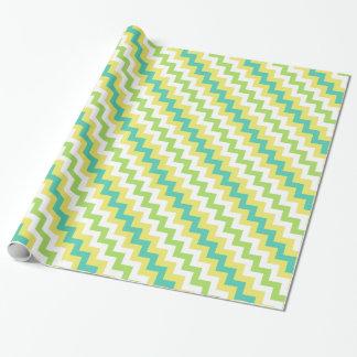 Papier Cadeau Papier d'emballage de chevrons : Jaune, vert,
