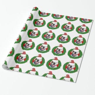 Papier Cadeau Papier d'emballage de chien blanc de boxeur de