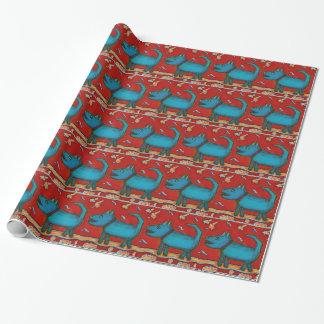 Papier Cadeau Papier d'emballage de chien bleu