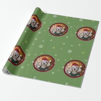 Papier Cadeau Papier d'emballage de chien de caniche de Noël