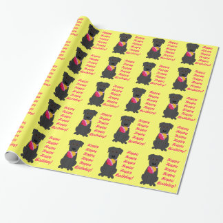 Papier Cadeau Papier d'emballage de chien de laboratoire de noir