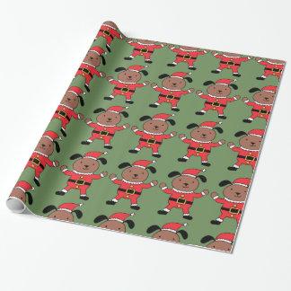 Papier Cadeau Papier d'emballage de chien de Noël