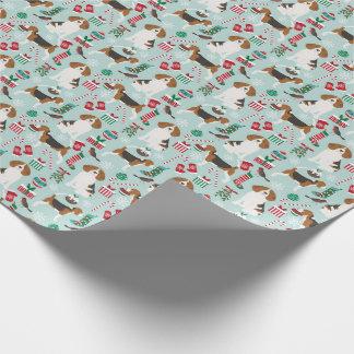 Papier Cadeau Papier d'emballage de chien de Noël de beagle