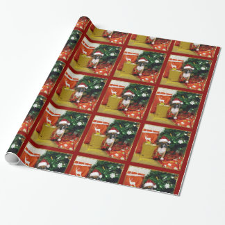 Papier Cadeau Papier d'emballage de chiot de boxeur de Noël