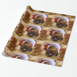 Papier Cadeau Papier d'emballage de chiot de boxeur de sommeil