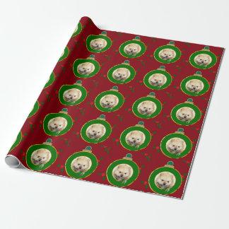 Papier Cadeau Papier d'emballage de chiot rouge de Pomeranian de