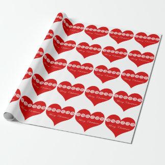 Papier Cadeau papier d'emballage de coeur de Joyeux Noël