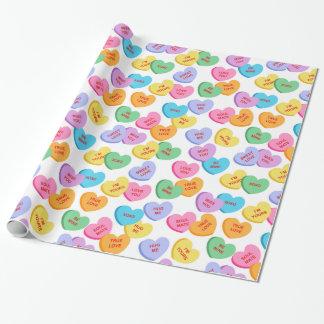 Papier Cadeau Papier d'emballage de coeurs de sucrerie de