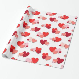 Papier Cadeau Papier d'emballage de coeurs rouges et roses de
