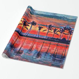 Papier Cadeau Papier d'emballage de coucher du soleil tropical
