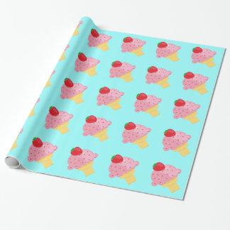 Papier Cadeau Papier d'emballage de crème glacée de fraise
