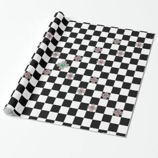 Papier Cadeau Papier d'emballage de damier noir et blanc de