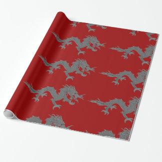 Papier Cadeau Papier d'emballage de dragon bhoutanais