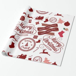 Papier Cadeau Papier d'emballage de fête de Joyeux Noël de