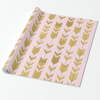 Papier Cadeau Papier d'emballage de flèches tribales roses d'or